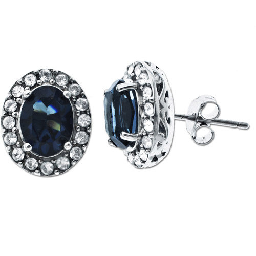 Luminesse Sterling Silver White and Blue Crystal Stud Earrings
