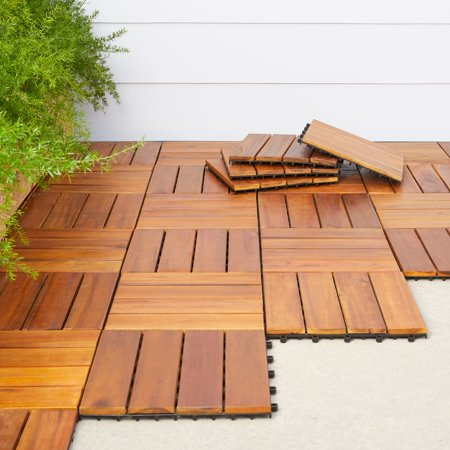 4 Slat Acacia Interlocking Deck Tile (Teak Finish)