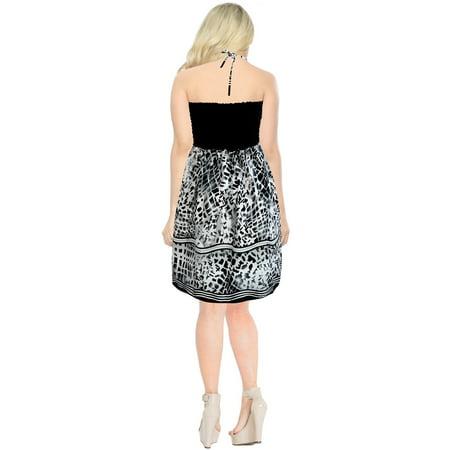 LA LEELA Short Tube Dress Evening Women Skirt Evening Casual Beach Dress Black White