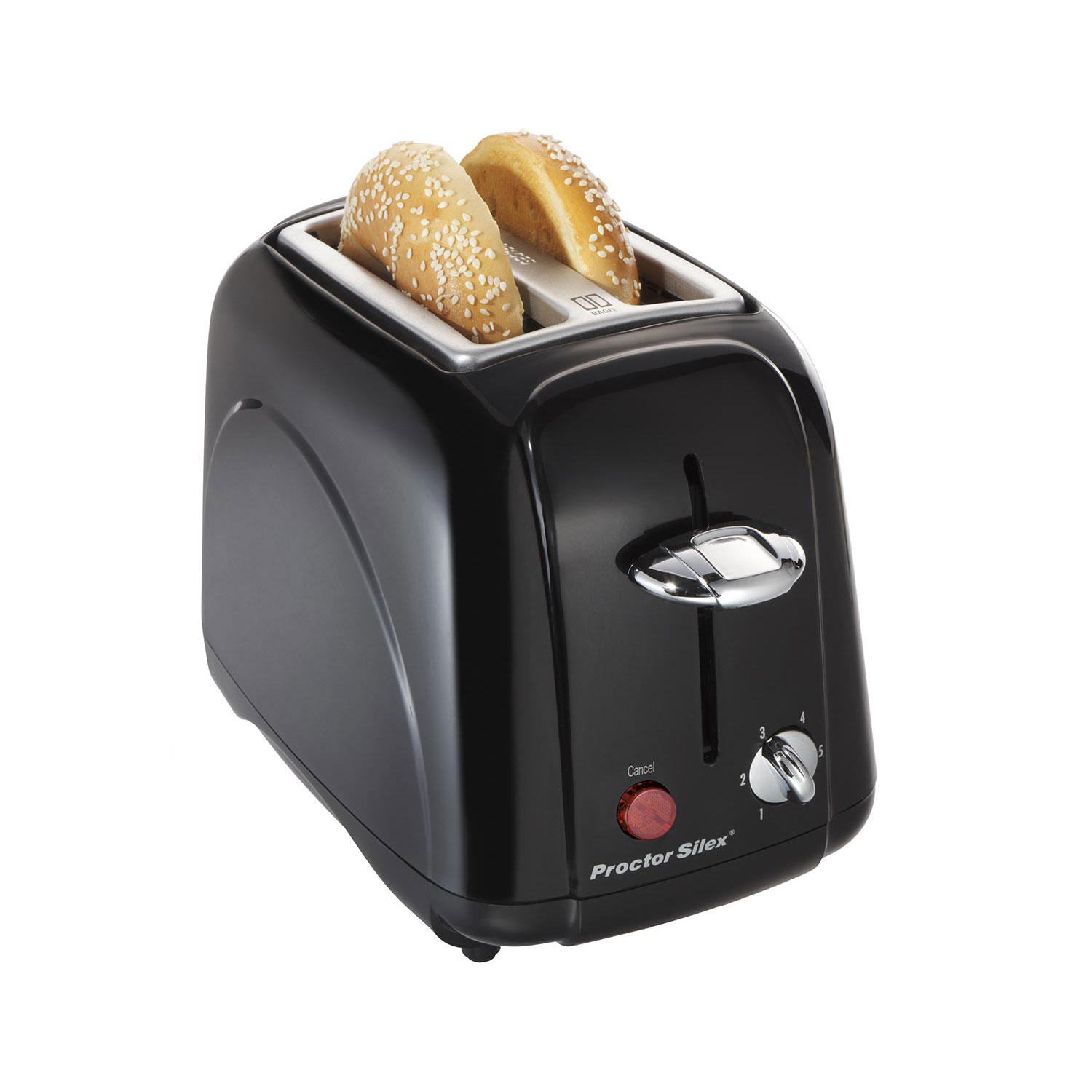 Proctor Silex 22301 2 Slice Countertop Toaster with Slide Out Crumb Tray, Black