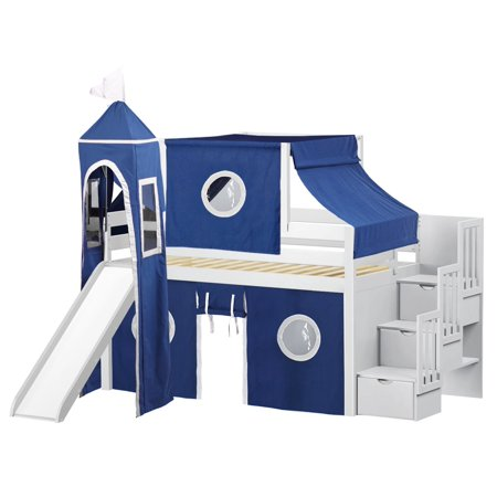 Jackpot Castle Low Loft Stairway Bed With Slide Blue