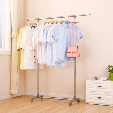 Ollieroo Stainless Steel Telescopic Rolling Garment Rack Clothing Rack (Single Rail) Brand: Ollieroo ®EASY INSTALLATION - Tools and instruction are included. Perfect for household clothing hanging storage, clothes display and salesmanADJUSTABLE HEIGHT - Adjustable Garment Rack provides easy access to shirts, pants, jackets or other apparel. Size (LxWxH) : (34.2  to 59 ) *17.3  * (38.2  to 65 )STAINLESS STEEL - 29.4mm Diameter & 0.55mm Thickness Stainless steel clad pipes and Thickened ABS plastic kit provide good Bearing Capacity about 44LBs while Static, 22 LBs while MovingCLASSIC DESIGN - Additional coat hook is for hanging clothes, scarf, hat, totes and more; 4 wheels, 2 of them with brake, make this whole rack convenient to move and stay still; Please Kindly note: This clothing rack is not suitable for rolling on carpet or very uneven ground