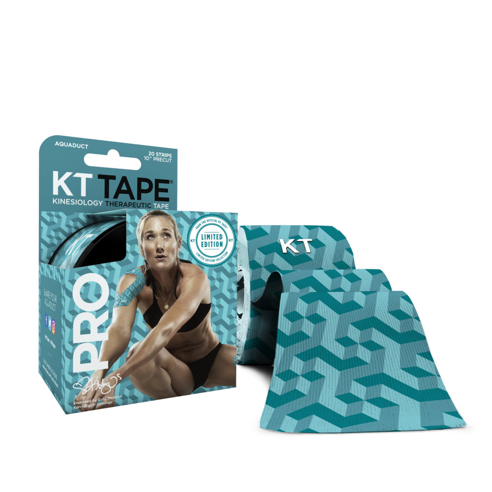 KT TAPE PRO Elastic Kinesiology Therapeutic Tape, 20 Precut 10 Inch Strips, Aquaduct