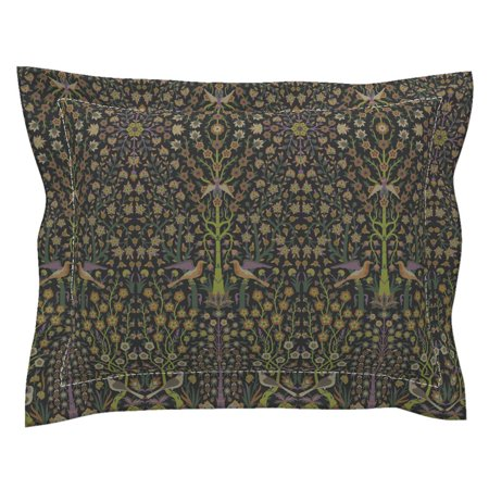 Floral Nature Damask Indian Renaissance Ditsy Botanical Pillow Sham by Roostery