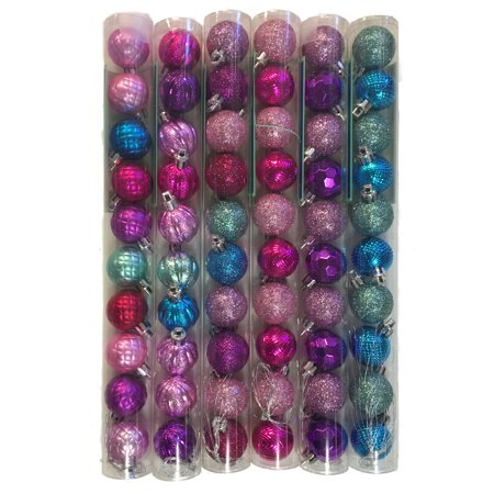 Blue Purple Pink Miniature Balls Christmas Tree Ornaments 1.2 Inch Pack of 60