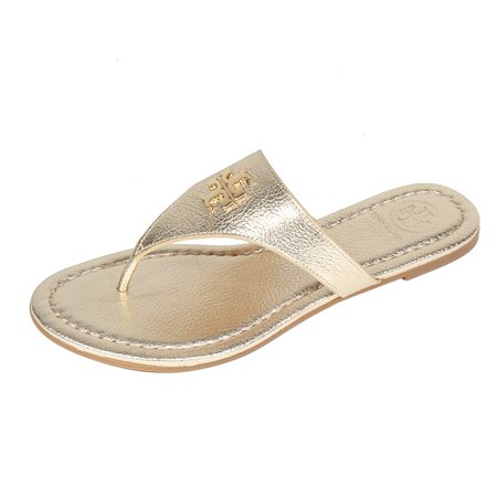 Tory Burch Laura Flip Flop Flats Thong Tumbled Leather TB Logo (7, Spark  Gold