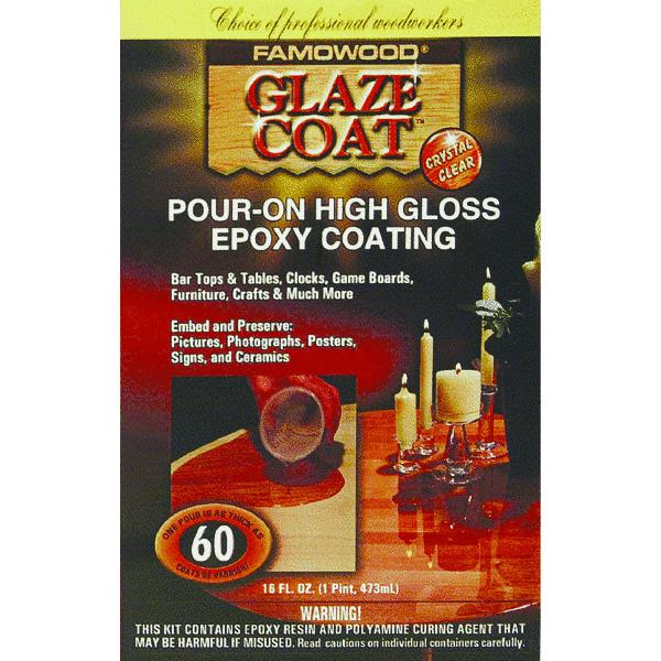 Famowood 5050060 1 Pint Crystal Clear Glaze Coat?? High Gloss Epoxy Coating