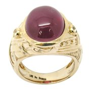 De Buman  10k Yellow Gold Genuine Ruby and White Topaz Ring (Size 6.75)