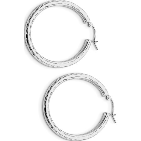 925 Sterling Silver Rhodium-plated 3mm Diamond-cut Hoop (34x36mm) Earrings - image 2 of 2