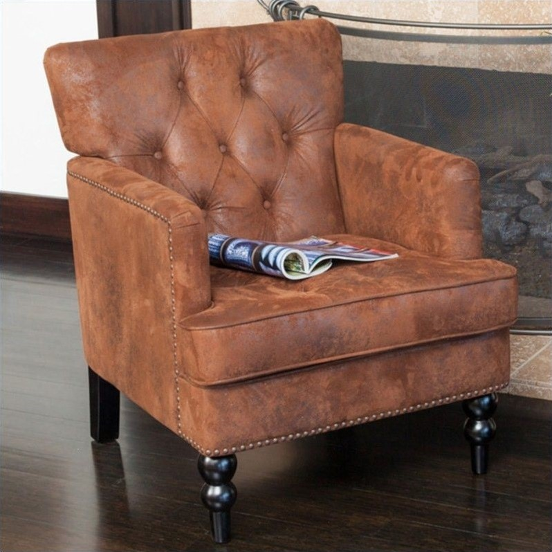 Trent Home Melissa Tufted Fabric Leather Club Chair in Brown by Noble House