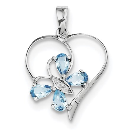 925 Sterling Silver Swiss Blue Topaz Diamond Butterfly Heart Pendant Charm Necklace Gemstone Love Fine Jewelry Ideal Gifts For Women Gift Set From Heart
