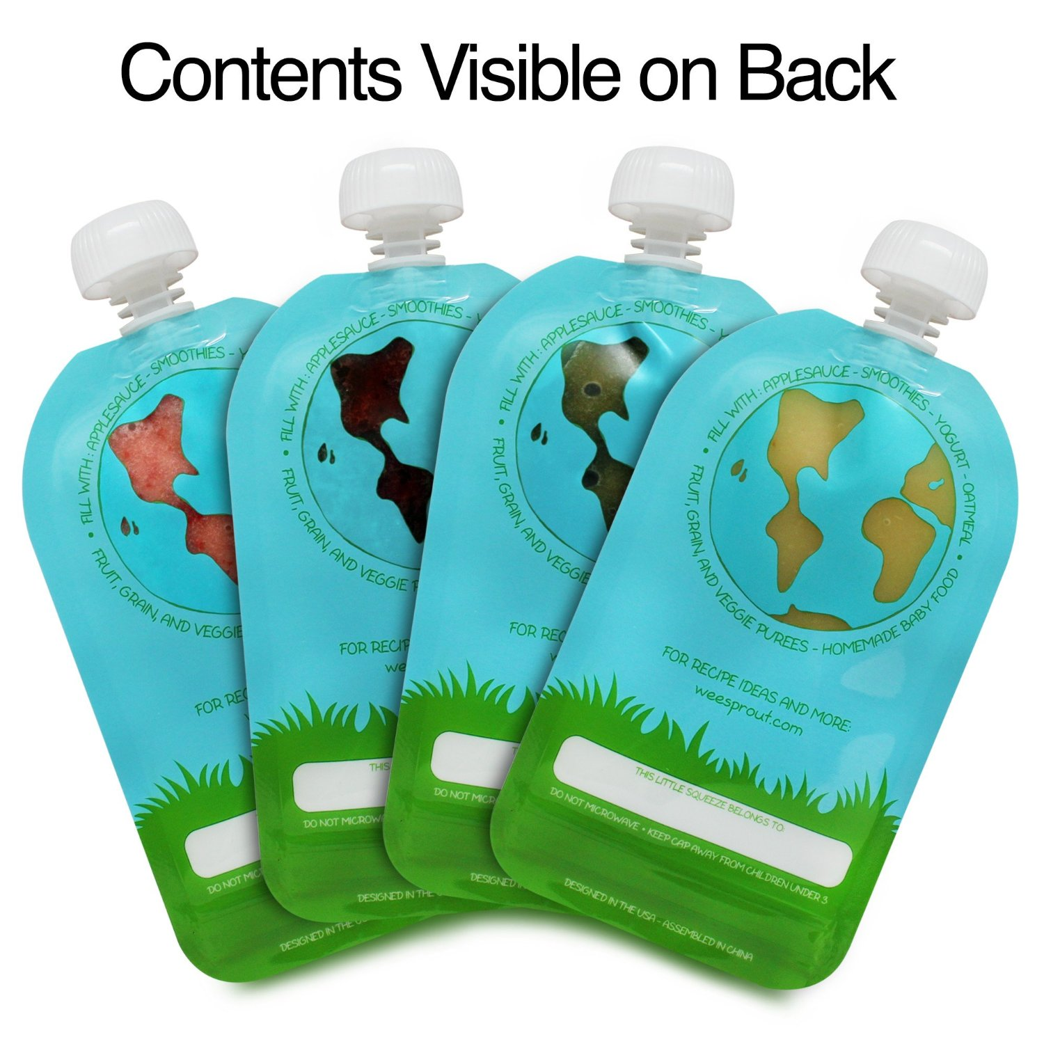 5-Pack 3.5OZ Refillable Reusable Baby Food Pouch Food Drinks BPA FREE
