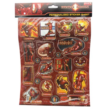 Marvel's Iron Man Super Hero Assorted Sticker Set (21 Stickers) - Super Hero Stickers