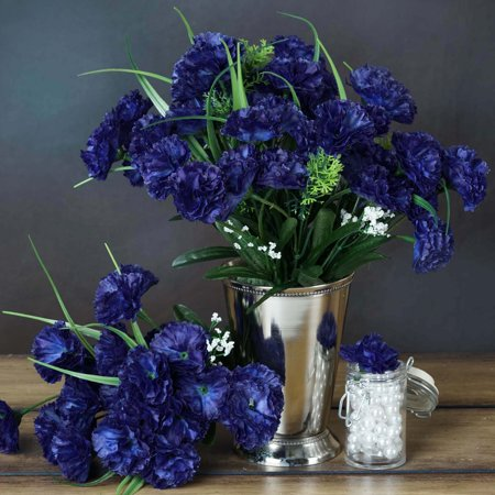 BalsaCircle 252 Mini Silk Carnations Flowers - DIY Home Wedding Party Artificial Bouquets Arrangements - Dark Blue Silk Flowers