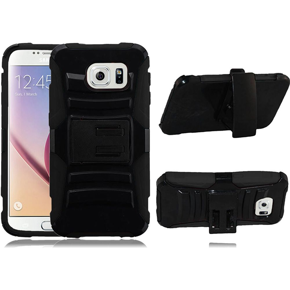 For Samsung S6 Case - Hybrid Phone Cover Side Kickstand With Holster Clip - Black+Black