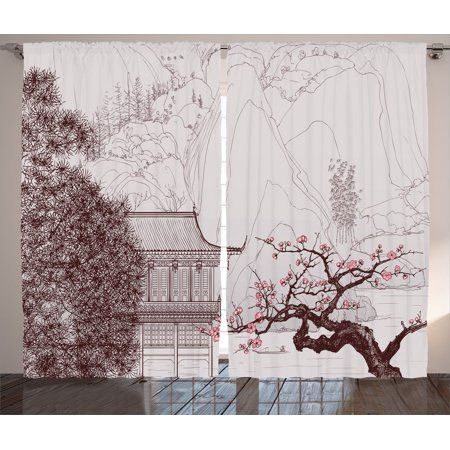 Asian Decor Curtains 2 Panels Set, Chinese Religion Temple With Sakura  Trees And Mountain Forms Pagoda Eastern Artwork Print, Living Room Bedroom  ...