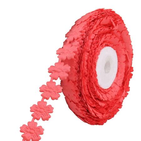 - Flower Design Headwear Band DIY Ribbon Roll Watermelon Red 1.8cm Width 20 Yards
