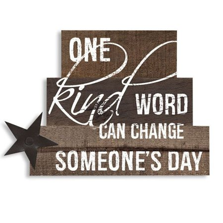 ONE KIND WORD CAN CHANGE SOMEONE'S DAY Decorative Wooden Stacked Block Sign, Measures approximately 6.25 inches wide by 5 inches tall By The Big Discount - Discount Home Decor Online