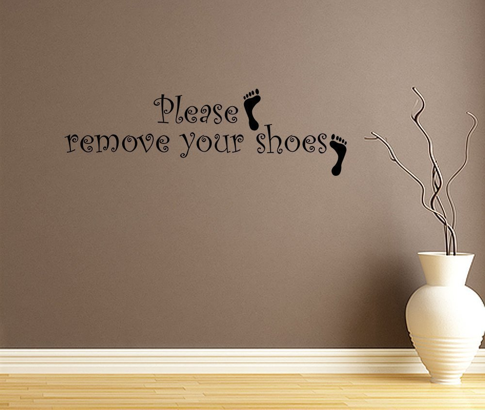 Please Remove Your Shoes Vinyl Wall Decal Quotes Wall Stickers Living Room  Decals Home Decor Decals