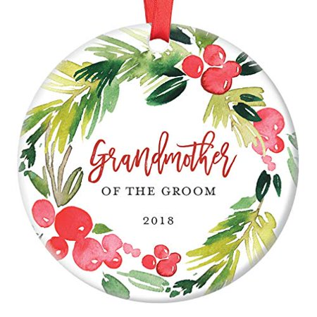 Grandmother of The Groom Christmas Ornament 2018, Wedding Gifts for Grandma Thank You Present from Bride Daughter In Law, Ceramic Present 3