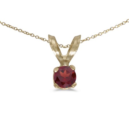 10k Yellow Gold Round Garnet Pendant with 16