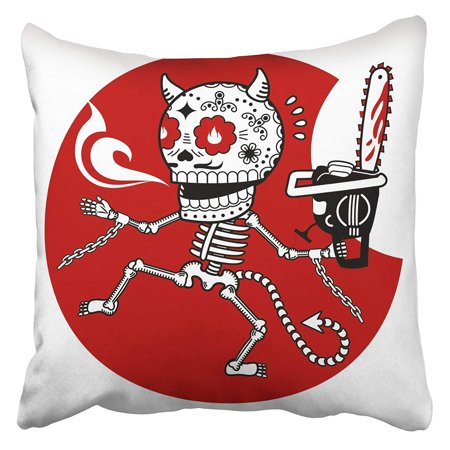 CMFUN Demon with Chainsaw Flat and Linear of Skeleton Advertisements Brochures Templates Pillowcase Cushion Cover 20x20 (Demon Skeleton)