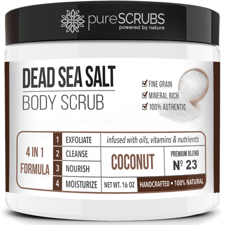 Premium Organic Body Scrub Set - Large 16oz COCONUT BODY SCRUB - Pure Dead Sea Salt Infused With Organic Essential Oils & Nutrients + FREE Wooden Spoon, Loofah & Mini Organic Exfoliating Bar