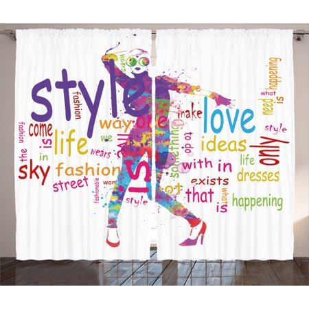 Fashion House Decor Curtains 2 Panels Set Stylish Woman Figure With Colorful Stains Love Dresses Happiness Theme Window Drapes For Living Room
