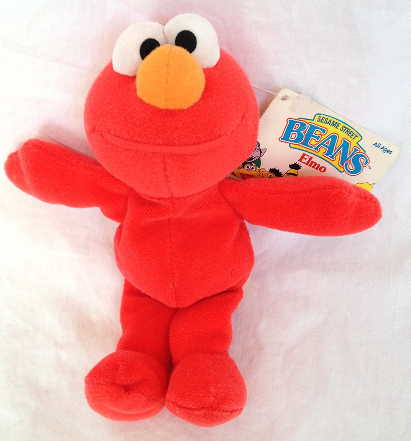 "Sesame Street Beans Elmo 8"" Monster, Retired 1997 Sesame Street Beans Collection By Tyco Ship from US"