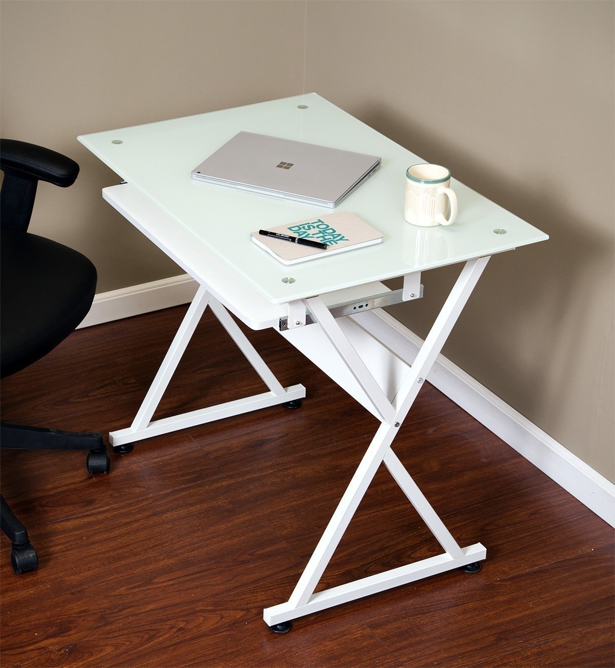 Onespace 50 Jn1201 Ultramodern Glass Computer Desk With Pull Out Keyboard Tray White Com