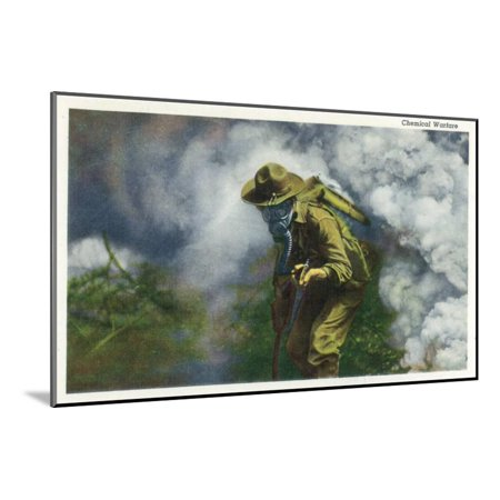 US Army - Soldier in Gas Mask, Chemical Warfare Wood Mounted Print Wall Art By Lantern Press ()