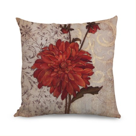 Fabricmcc Beautiful Red Flower Light Linen Decorative Throw Pillow Case,Pillow Cover 18 Inch,Home Decoration Pillow Case,Cushion Pillow Cover For Sofa