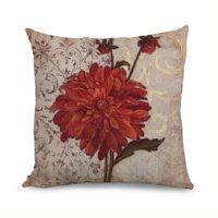 Product Image Fabricmcc Beautiful Red Flower Light Linen Decorative Throw Pillow Case,Pillow Cover 18 Inch,