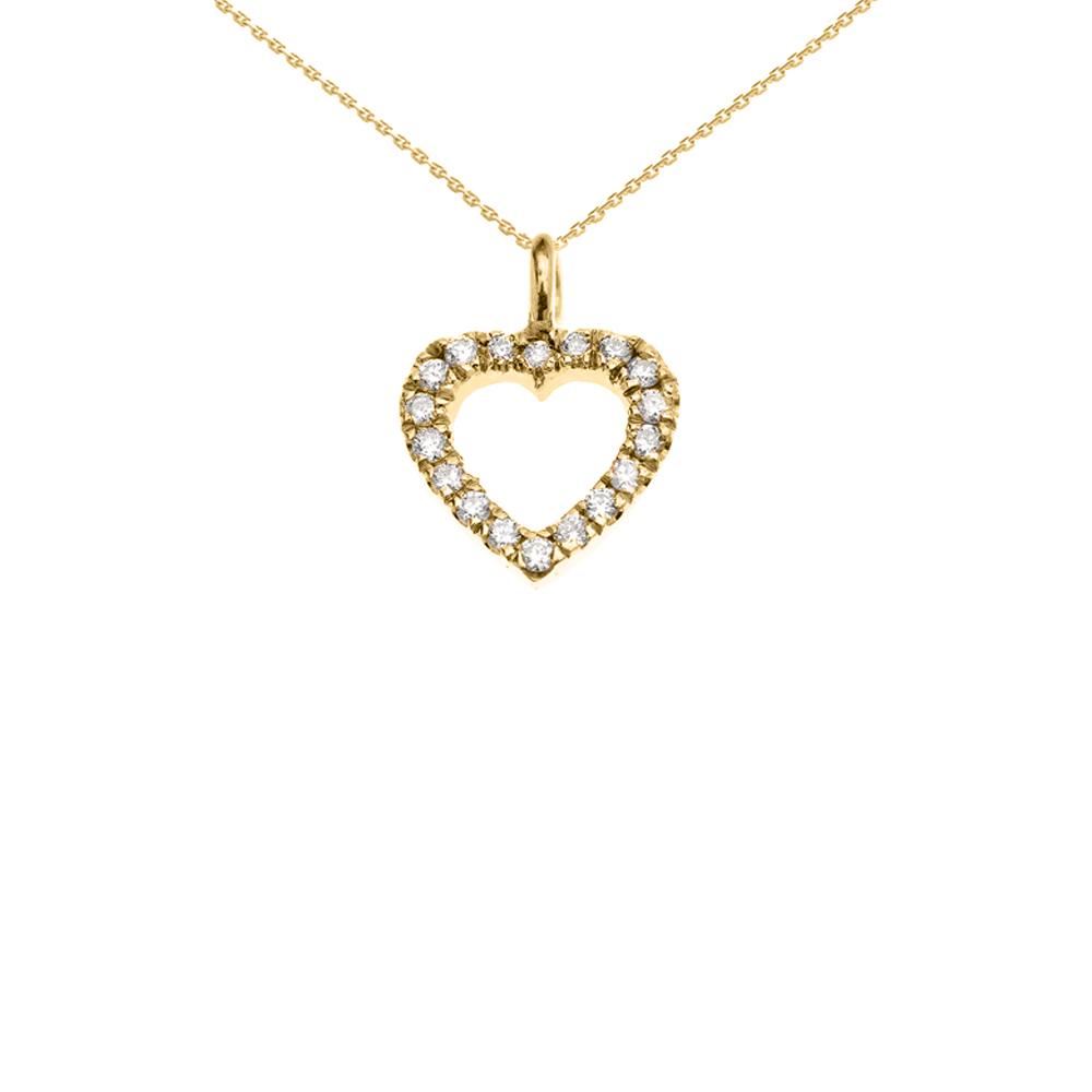 "14K Yellow Gold Open Heart Diamond Dainty Charm Pendant Necklace 22"" Walmart"