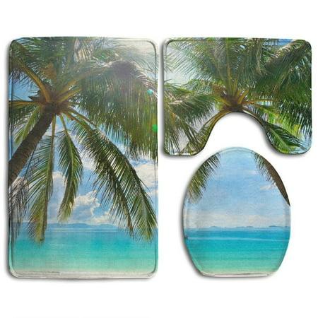 CHAPLLE Beautiful Sunny Beach Palm Trees The Isl 3 Piece Bathroom Rugs Set Bath Rug Contour Mat and Toilet Lid Cover (Beach Bath Rugs Set)