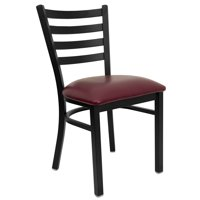 Flash Furniture HERCULES Series Black Ladder Back Metal Restaurant Chair, Vinyl Seat, Multiple Colors