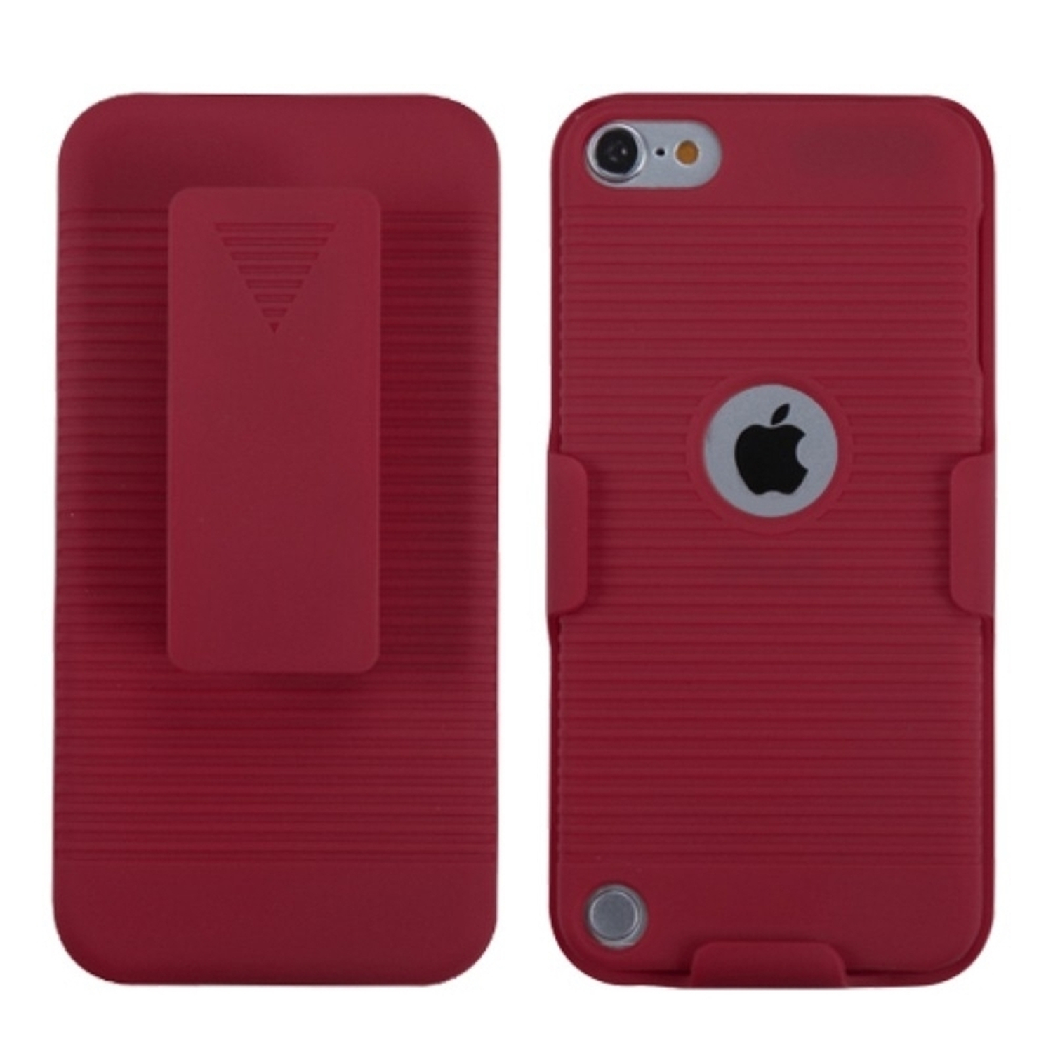 Insten Rubberized Red Hybrid Holster Case for iPod touch (5 5G 5th 6 6G 6th Gen)