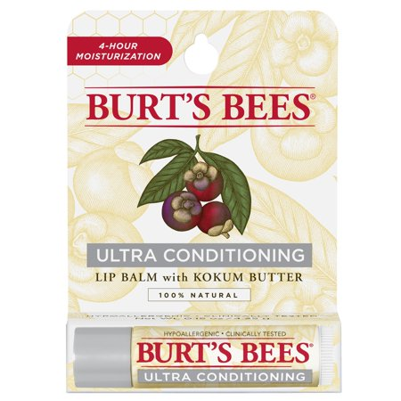 - Burt's Bees 100% Natural Moisturizing Lip Balm, Ultra Conditioning with Kokum Butter, 1 Tube in Blister Box