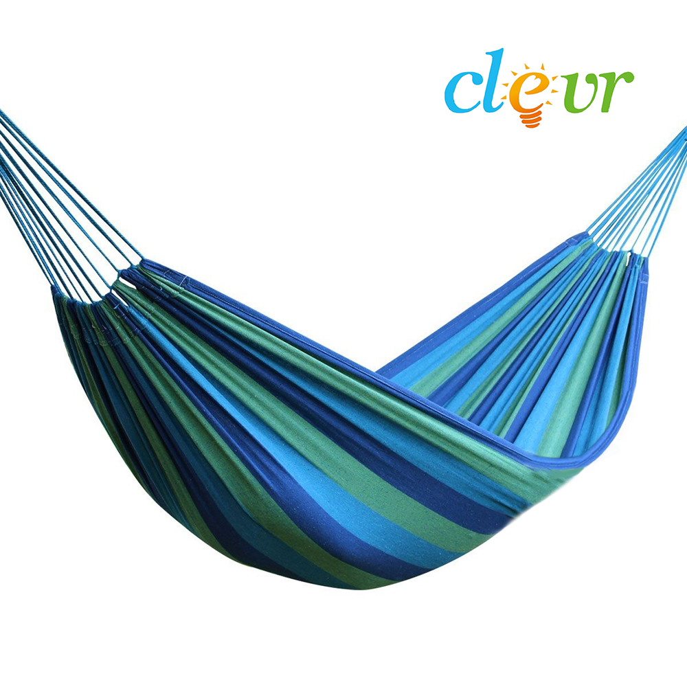 Clevr Double Wide Camping Hammock with Carry Bag, Green / Blue - 1 Person | 265 lbs. limit