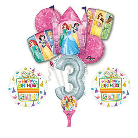 New! 9pc Disney Princess 3rd BIRTHDAY PARTY Balloons Decorations Supplies (Disney Wedding Decorations)
