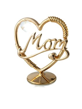 24K Gold Plated Mom in a Heart with Clear-Cut Crystal
