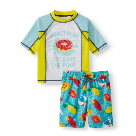 cb1e7b52a5 p.s.09 from aéropostale - Donut Print Rash Guard and Swim Trunk, 2-Piece  Outfit Set (Little Boys) - Walmart.com