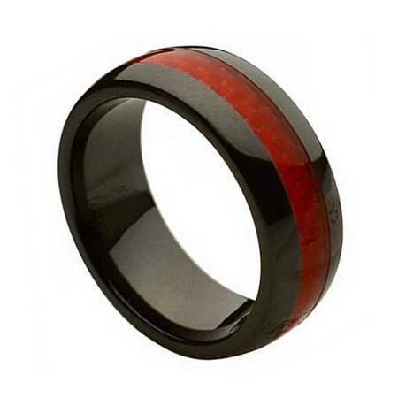 8Mm Ceramic Black With Red Carbon Fiber Inlay Wedding Band Ring For Men And Ladies