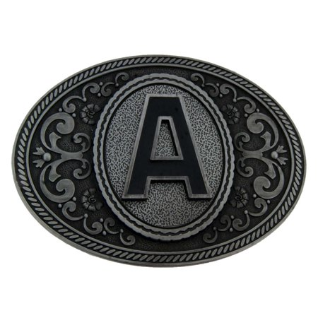 Initial Letter (A) Monogram Belt Buckle Cowboy Rodeo Western Metal Antiqued New