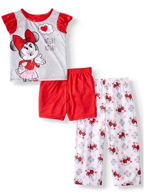 Minnie Mouse Toddler Girl Short Sleeve Top, Shorts & Pants Pajamas, 3-Piece Set