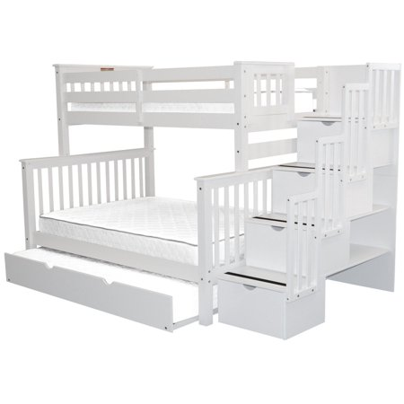 Bedz King Stairway Bunk Beds Twin Over Full With 4 Drawers In The Steps And A Trundle White