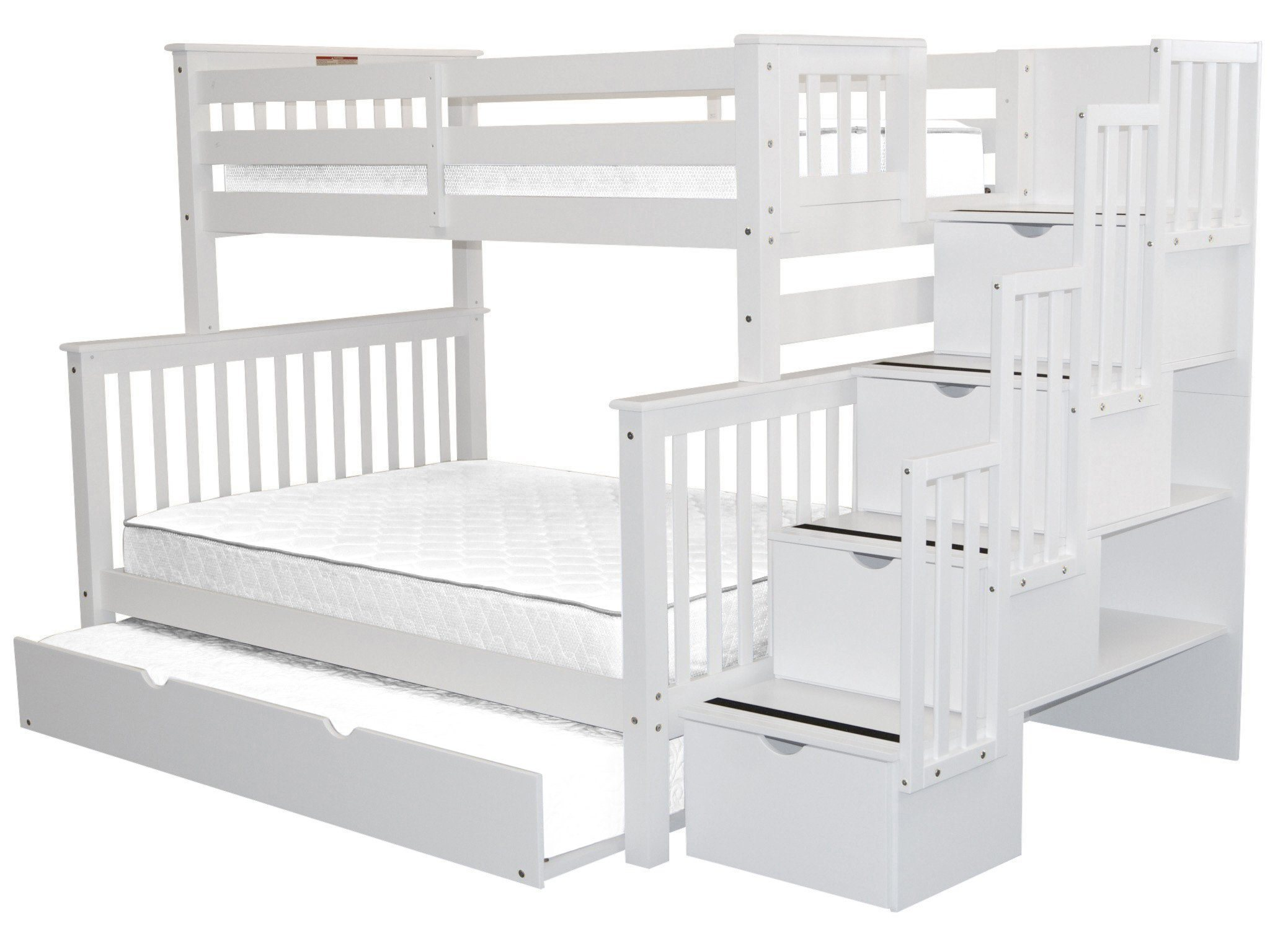 Ordinaire Bedz King Stairway Bunk Beds Twin Over Full With 4 Drawers In The Steps And  A Full Trundle White