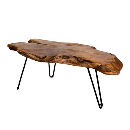 Natural Wood Edge Teak Coffee Cocktail Table with Clear Lacquer (Teak Finish Wood)