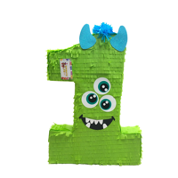 Large Number One Pinata Green Color Monster Theme