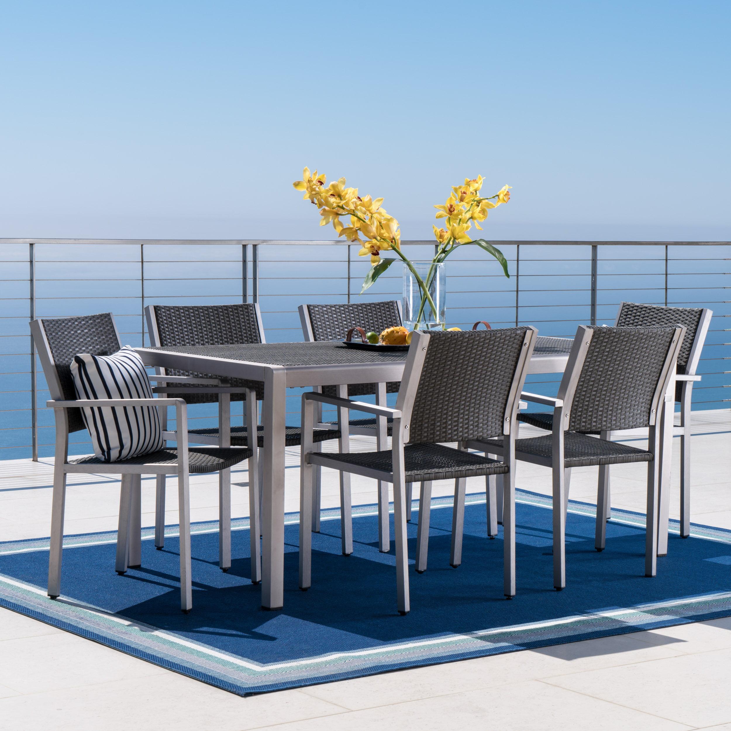 Miller Outdoor 7 Piece Aluminum Dining Set with Wicker Top, Grey
